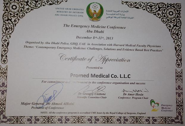 Pro med appreciation certificate for participation in abu dhabi police emergency medicine conference 2013 yelopaper Choice Image